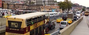 istanbul transport panorama 300x120 - ISTANBUL, TURKEY - OCTOBER 03, 2014: Tour bus in front of the New Mosque. The Yeni Cami, meaning New